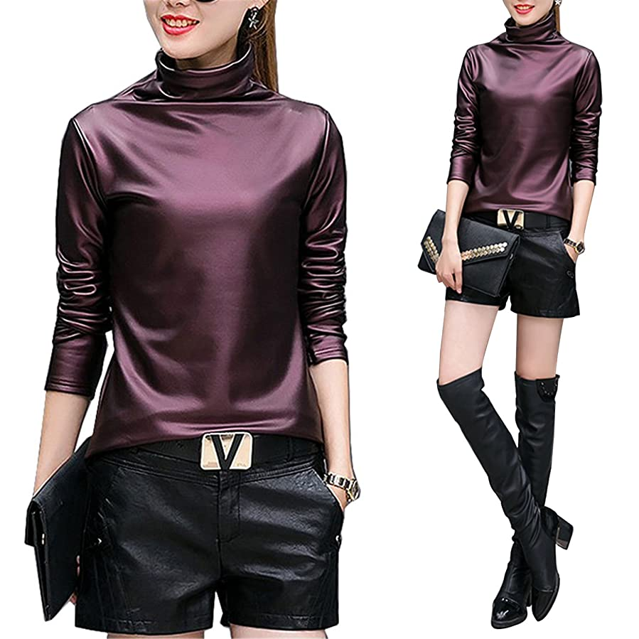 Amazon.com: Plus size 4XL t-shirts women harajuku sexy long sleeve Turtleneck velvet t shirt female tops american apparel PU Leather t shirt wine red XL: ...