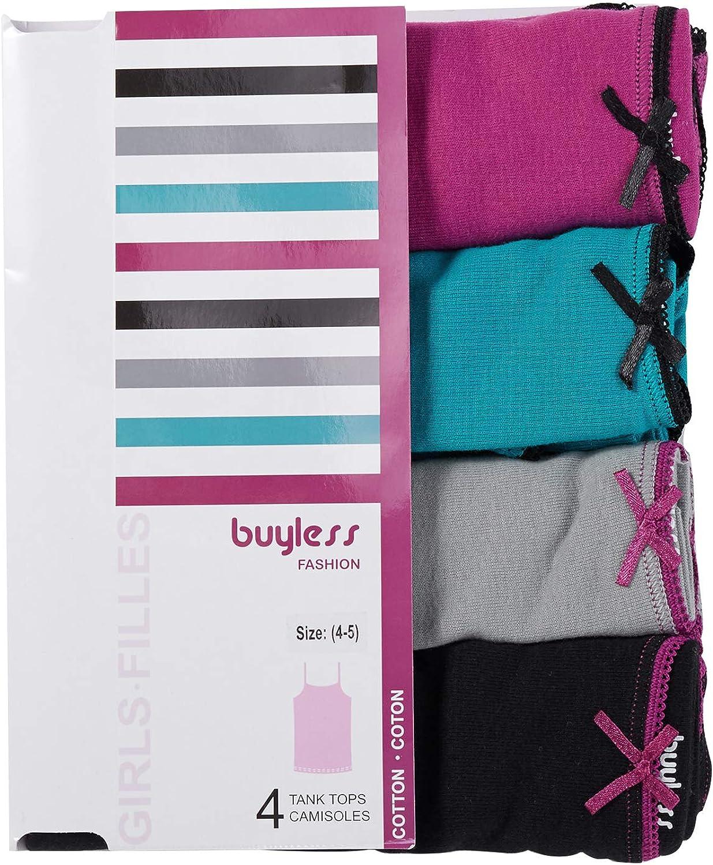 Confezione da 4 Buyless Fashion Maglietta Intima Morbida da Ragazza 100/% Cotone Scollo Rotondo