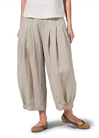 Vivid Linen Crumple Effect Harem Pants at Amazon Women's Clothing ...