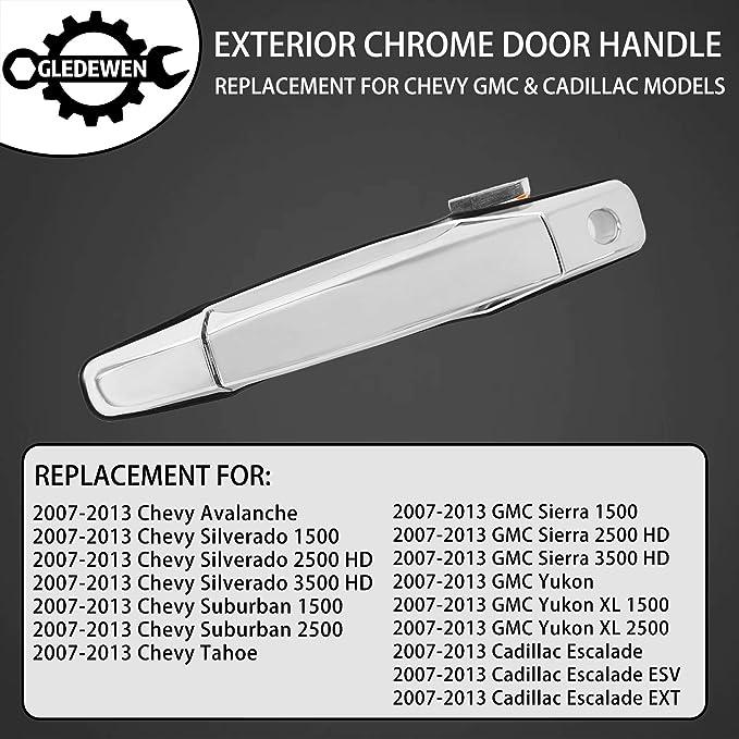25960525 Exterior Chrome Door Handle Front Left Driver Side Cadillac Escalade 22738721 80546 for 2007-2013 Chevy Silverado Suburban Tahoe Avalanche Replaces# 20828258 GMC Sierra Yukon