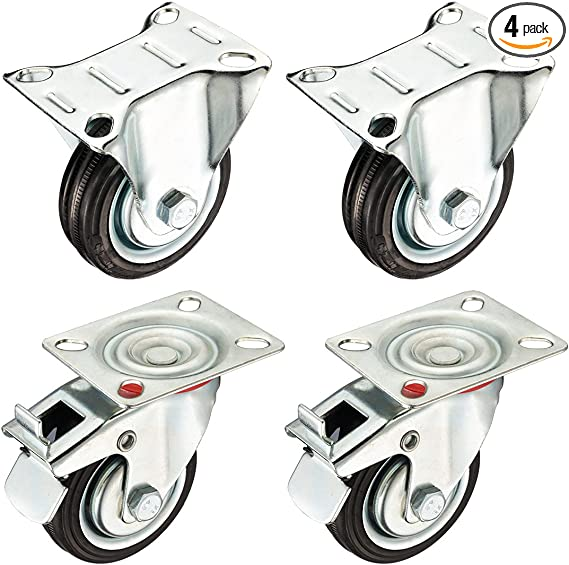 """2 Plate /& 2 Brake Details about  /4 Pack Combo 3/"""" Inch Swivel Plate Black Rubber Caster Wheels"""