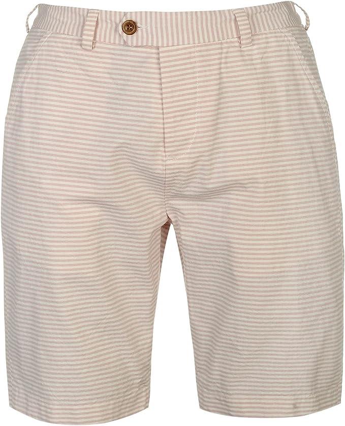 TALLA XXL. Pierre Cardin Hombre Shorts Ligeros 100% Algodón Casual Verano Hilado Teñido de Rayas - Multicolor - Mediano - XX Tamaños Grandes Disponibles