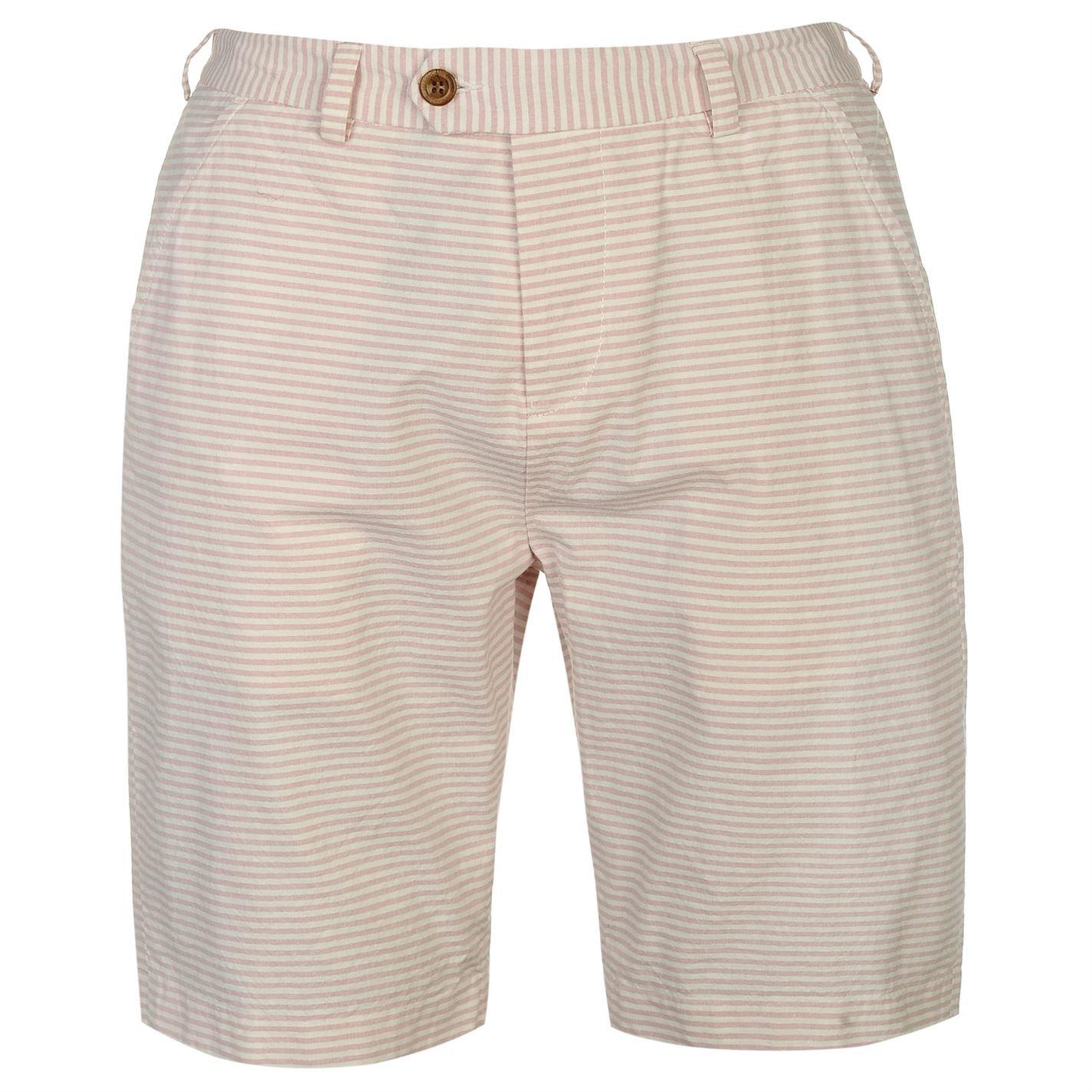 TALLA M. Pierre Cardin Hombre Shorts Ligeros 100% Algodón Casual Verano Hilado Teñido de Rayas - Multicolor - Mediano - XX Tamaños Grandes Disponibles