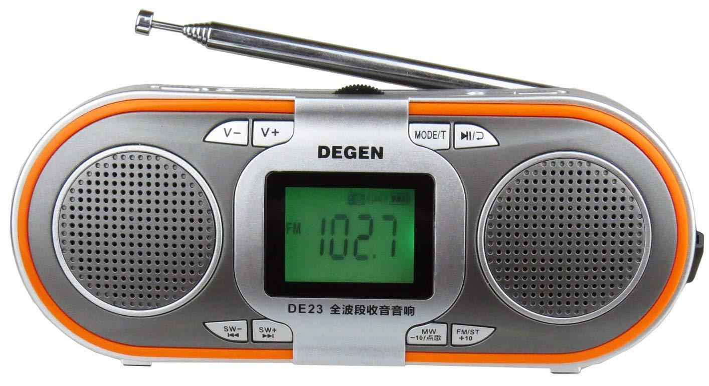 Degen DE23 Rechargeable AM//FM Shortwave Radio with Dual Speakers MP3 Player