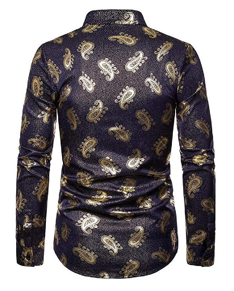 JXG Men Long Sleeve Regular Fit Print Casual Business Button Down Dress Work Shirt