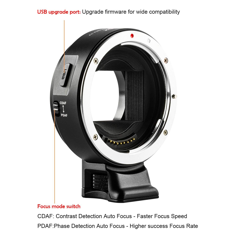 VILTROX EF-NEX IV Mise au point automatique CDAF//PDAF Adaptateur de monture dobjectif,EXIF pour Canon EF//EF-S objectif vers Sony E-Mount Camera A9 A7RIII A7RII A7III A7II A6300 A6500