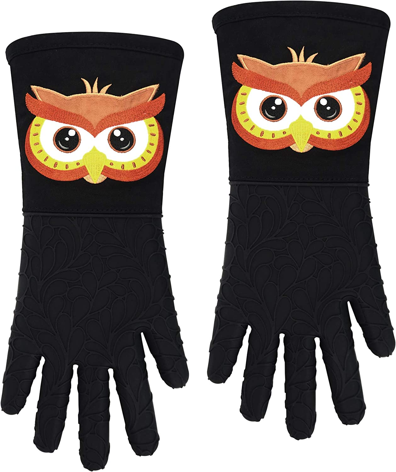 RED LMLDETA Silicone Oven Gloves Mitts 1 Pair Embroidery Owl Heat Resistant Extra Long 5 Fingers Flexible Non Slip Food Grade Mittens Kitchen Women Men Pot Holders Cooking Baking BBQ (Owl, Black)