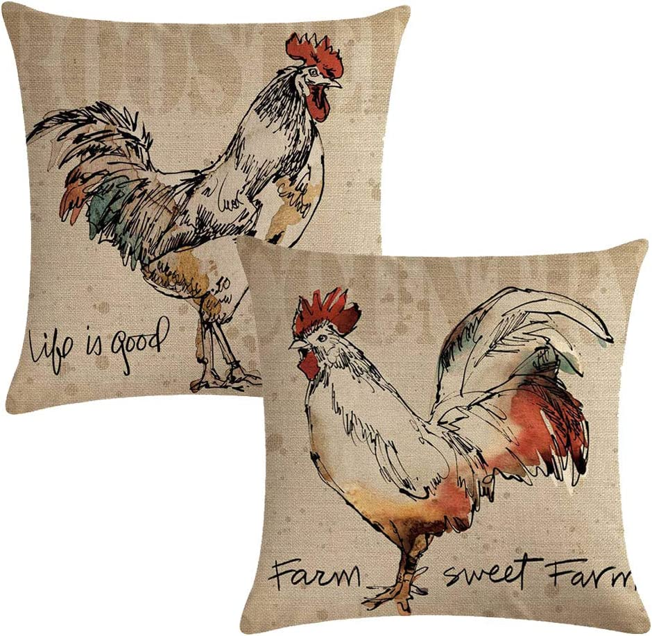 Amazon Com 7colorroom 2 Pack Rustic Farmhouse Rooster Throw Pillow Covers Poultry Chicken Farm Sweet Farm Home Decorative Cushion Cover Pillow Cases 18 X 18 Home Kitchen