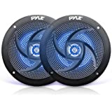 Pyle Marine Speakers - 5.25 Inch 2 Way Waterproof and Weather Resistant Outdoor Audio Stereo Sound System with LED Lights, 18