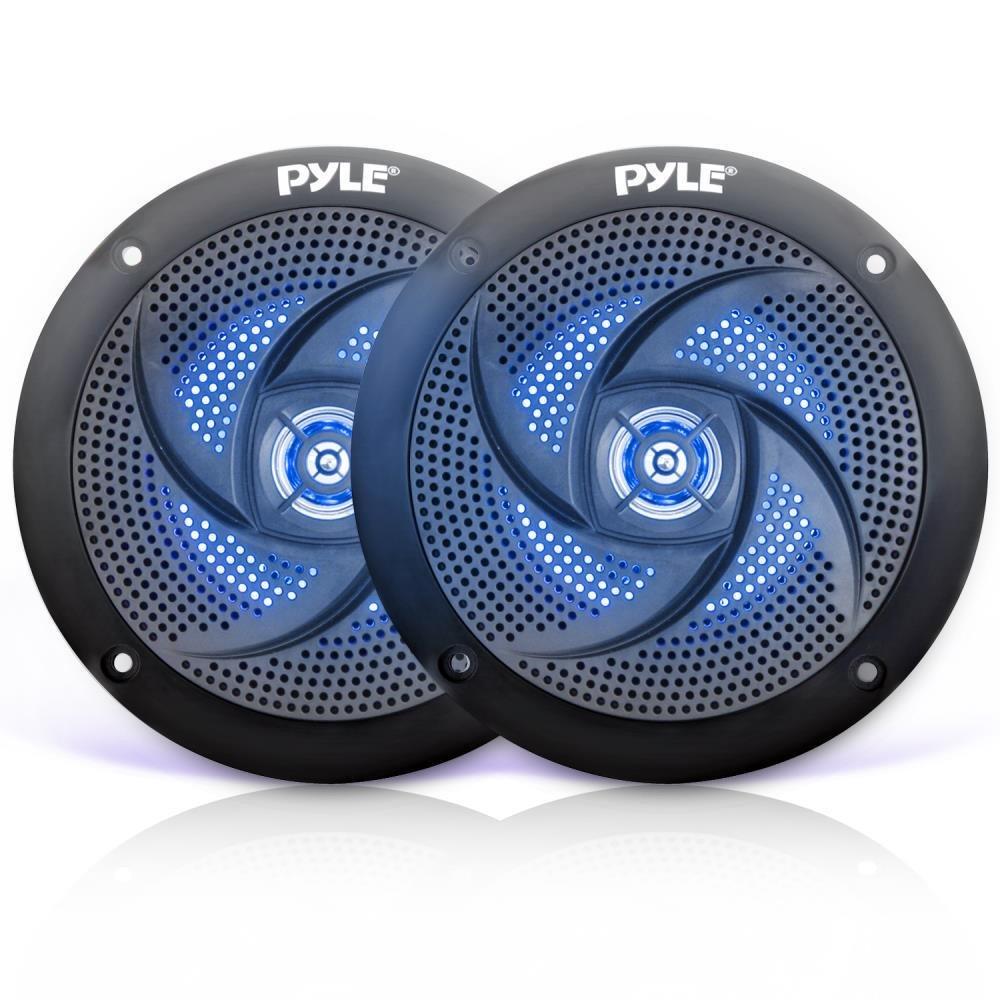 Pyle Marine Altavoces – 5,25 pulgadas 2 vías impermeable y resistente a la intemperie al aire libre sistema de sonido estéreo con luces LED, 180 W de potencia y bajo perfil delgado estilo – 1 par – PLMRS53BL (negro)
