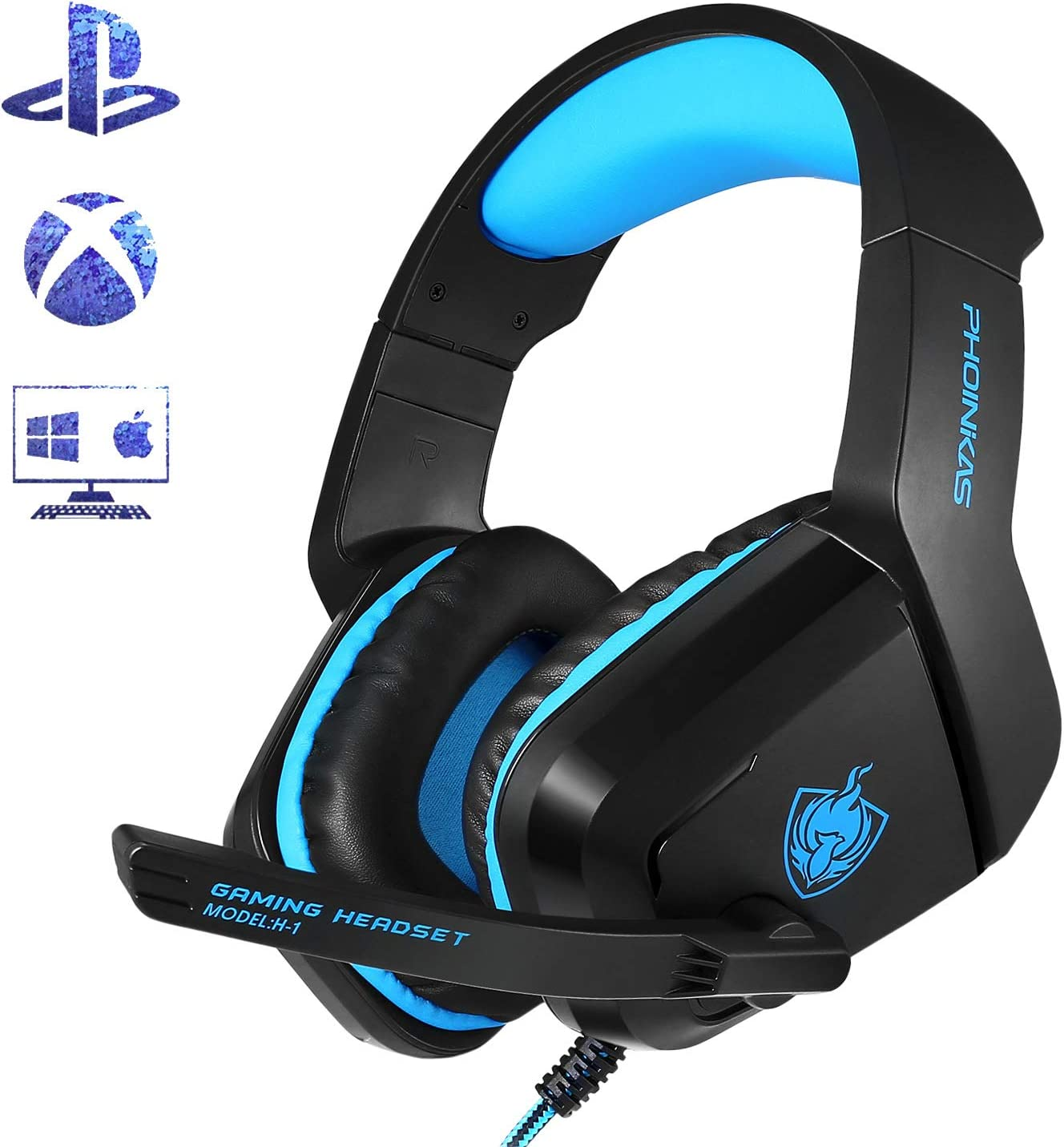 PHOINIKAS H1 3.5MM Xbox One Gaming Headset,PS4 Headset for PC, Laptop, Mac, iPad, Nintendo Switch Games, Over Ear Headphone with Microphone Bass Surround LED Light,Soft Memory Earmuffs Blue