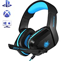 PHOINIKAS H1 3.5MM Xbox One Gaming Headset, PS4 Headset for PC, Laptop, Mac, iPad, Nintendo Switch Games, Over Ear Headphone with Microphone, Bass Surround, LED Light, Gift for Kids (Blue)