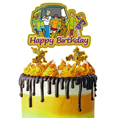 Toppers for Scooby Doo Cake Topper, Happy Birthday Cake Toppers, Cake Decorations for Bday Theme Party
