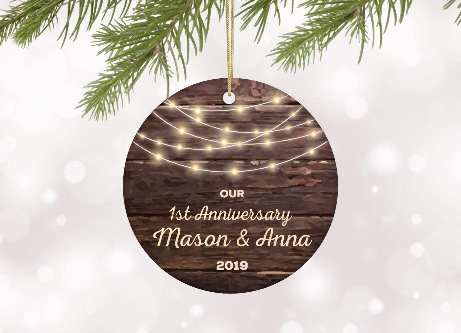 Amazon Com Dkisee 1st Anniversary Christmas Ceramics Ornament Our First Anniversary Personalised For Couple One Years Together 1 Year Married 3 Inches Home Kitchen