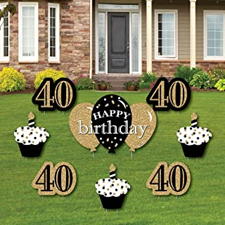 product image for Big Dot of Happiness Adult 40th Birthday - Gold - Yard Sign and Outdoor Lawn Decorations - Happy Birthday Party Yard Signs - Set of 8