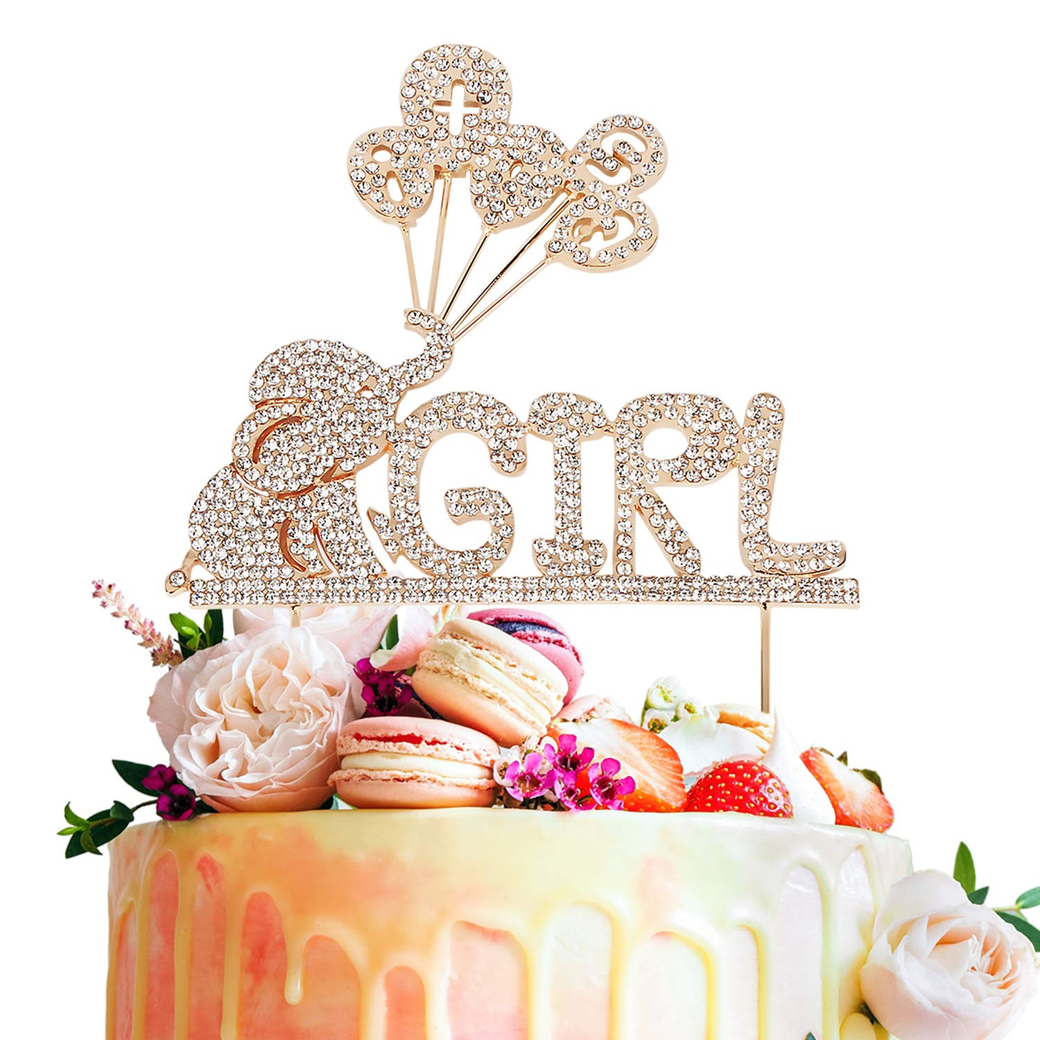 It's a Girl Elephant Baby Rhinestone Gold Metal Cake Topper Cheers to Baby Shower First Birthday Party Decoration - 5.5'' x 9''(Gold).
