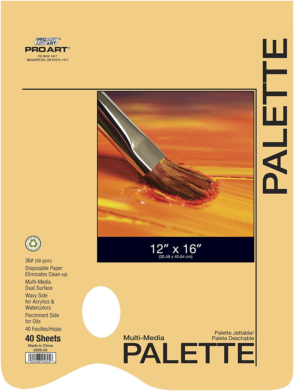 PRO ART 12-Inch by 16-Inch Disposable Oil Palette Paper Pad