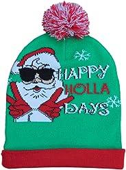 66d89319f42922 Men's Christmas Santa Happy Holla Days Green Beanie Stocking Cap Winter Hat