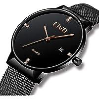 Civo uomini orologi ultra sottile minimalista nero elegante Business moda uomo orologio da polso per gli uomini al quarzo Orologio impermeabile data calendario casual