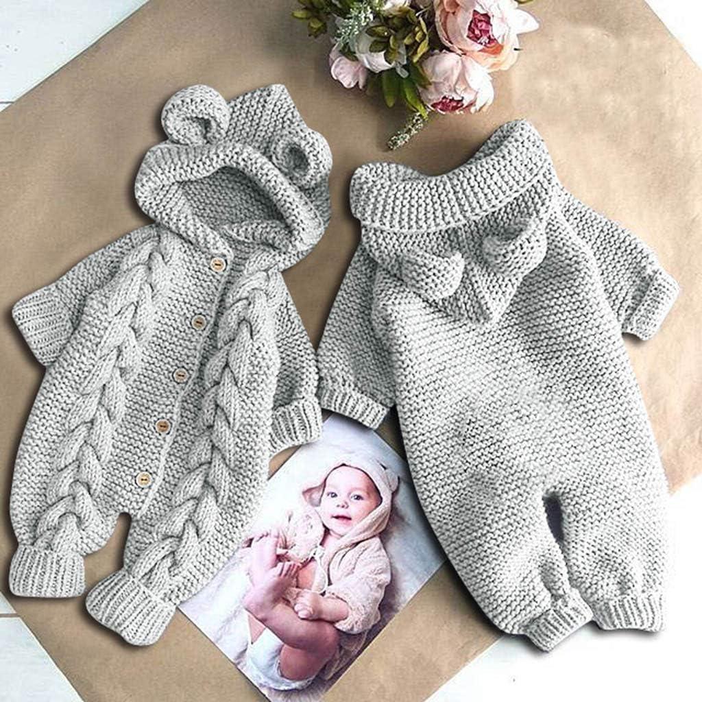 DDKK Newborn Romper Newborn Infant Baby Girl Boy Winter Warm Coat Knit Outwear Hooded Jumpsuit 0-24 Months