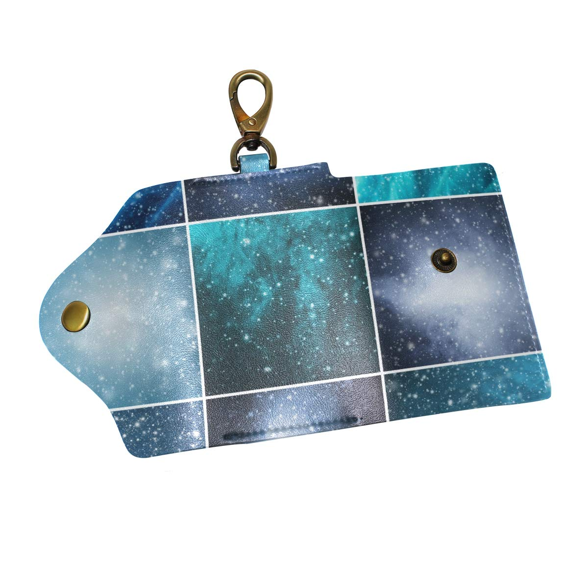 KEAKIA Snow Flakes And Stars Leather Key Case Wallets Tri-fold Key Holder Keychains with 6 Hooks 2 Slot Snap Closure for Men Women