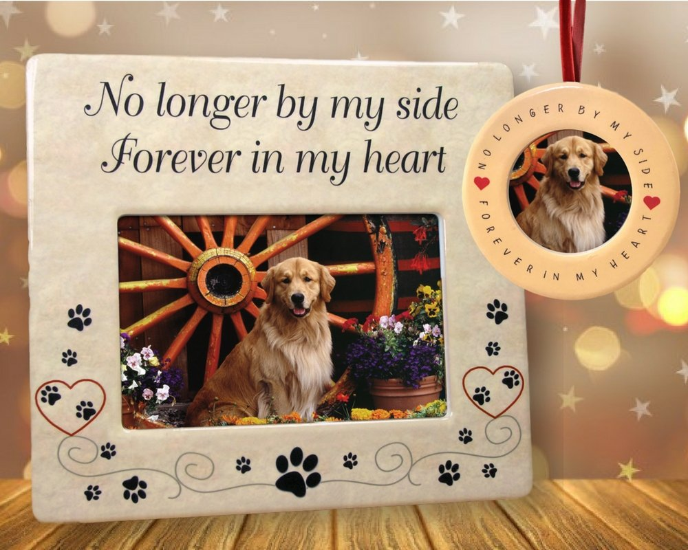 BANBERRY DESIGNS Pet Memorial Frame and Ornament - No Longer by My Side - 4'' X 6'' Ceramic Plaque with Matching Round Circle Ornament - Pet Remembrance