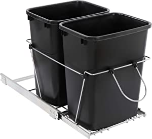 SUPER DEAL Double Pullout Trash Can 35 Quart Under Counter Sliding Waste Bin Kitchen Container