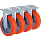 OrangeA Scaffolding Casters 8 X 2 Inch Heavy Duty Swivel Casters Scaffolding Polyurethane Wheel with Brakes Set of 4 Rolling Scaffold Caster Capacity per Caster 800 lbs