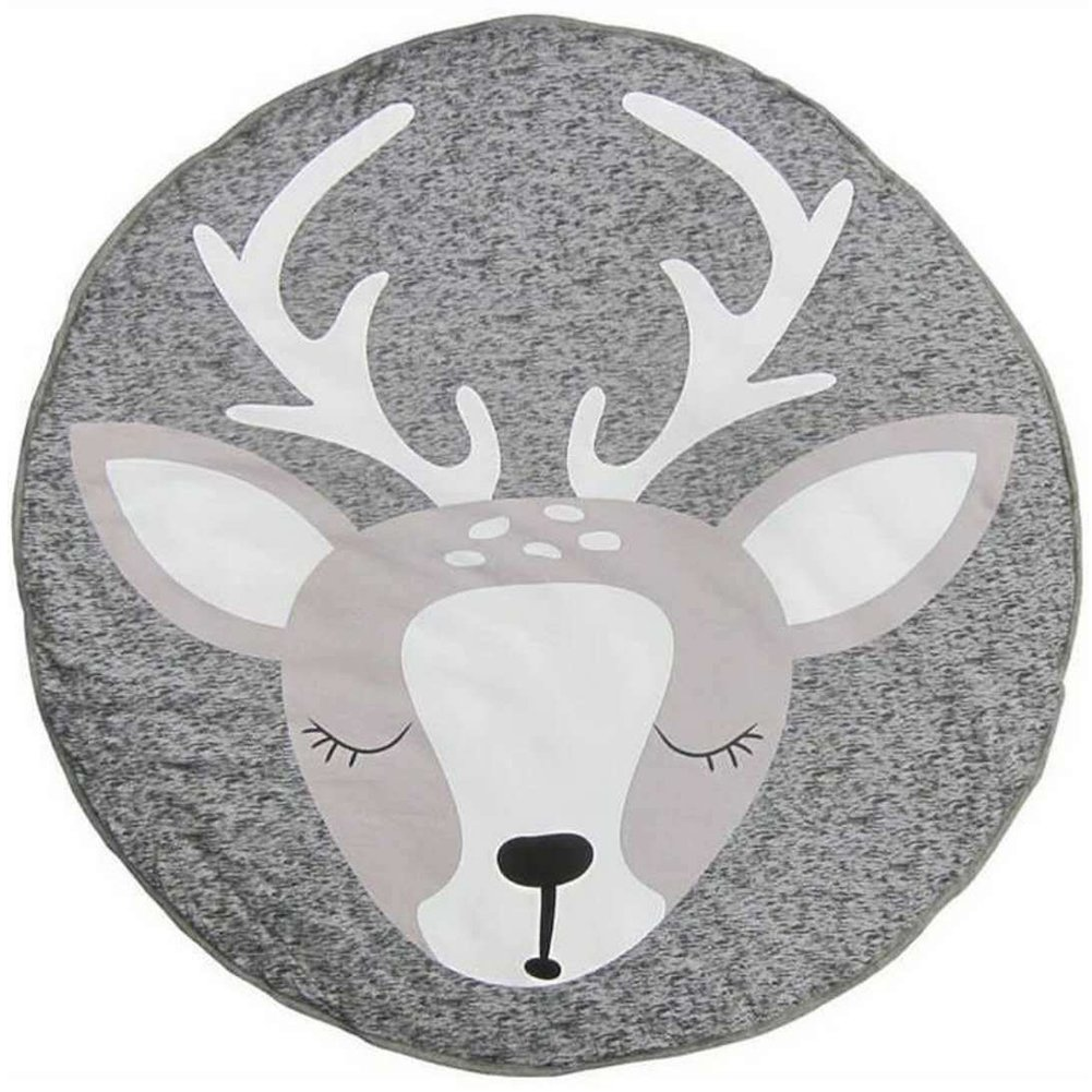 Loghot Cotton Cute Deer Pattern Baby Crawling Mat Floor Round Rug Playmat Shooting Props for Kids Room Decoration