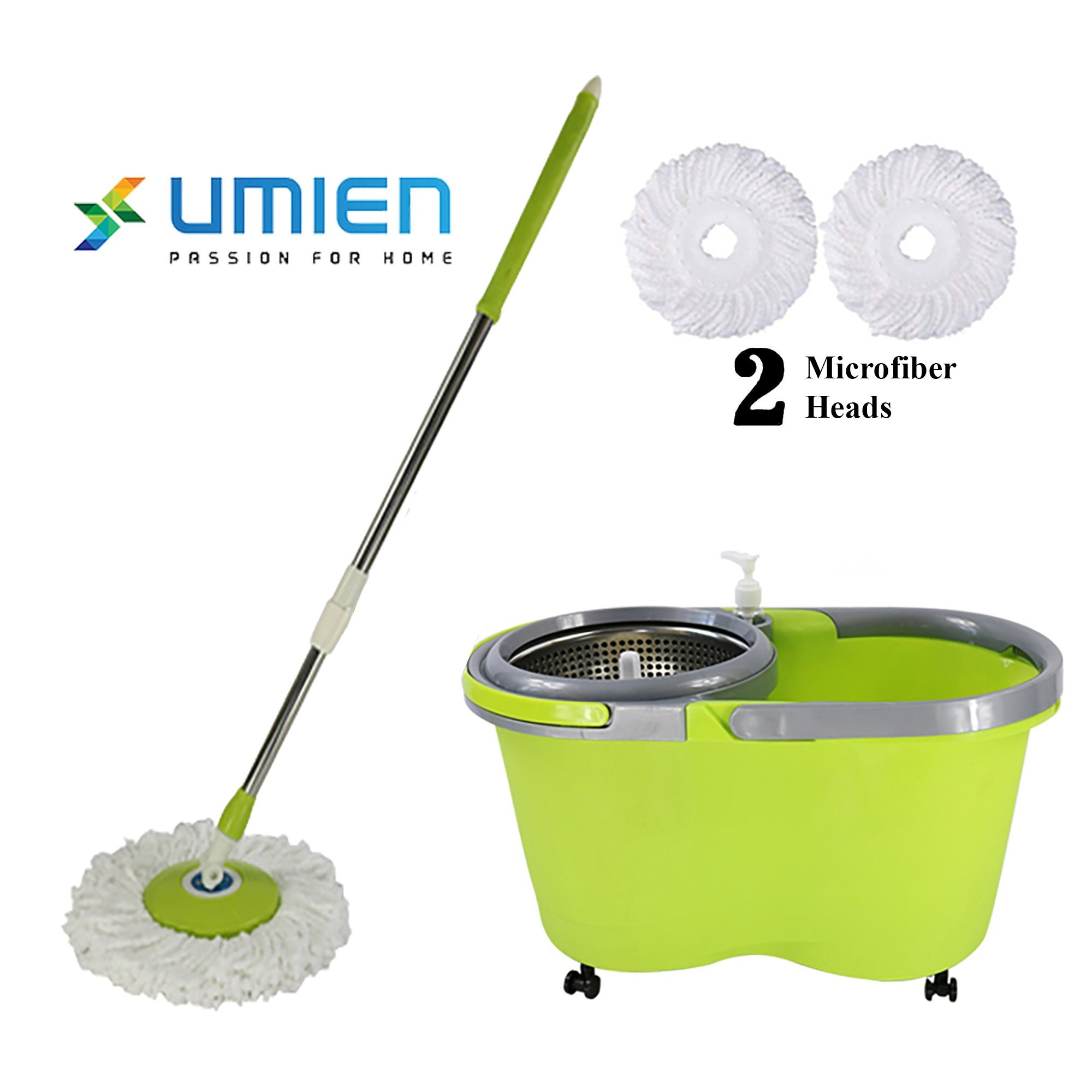 Self Wringing mop system – 360° degree spin swivel mop with bucket on wheels and 2 machine washable microfiber quick dry mop heads for ease of use