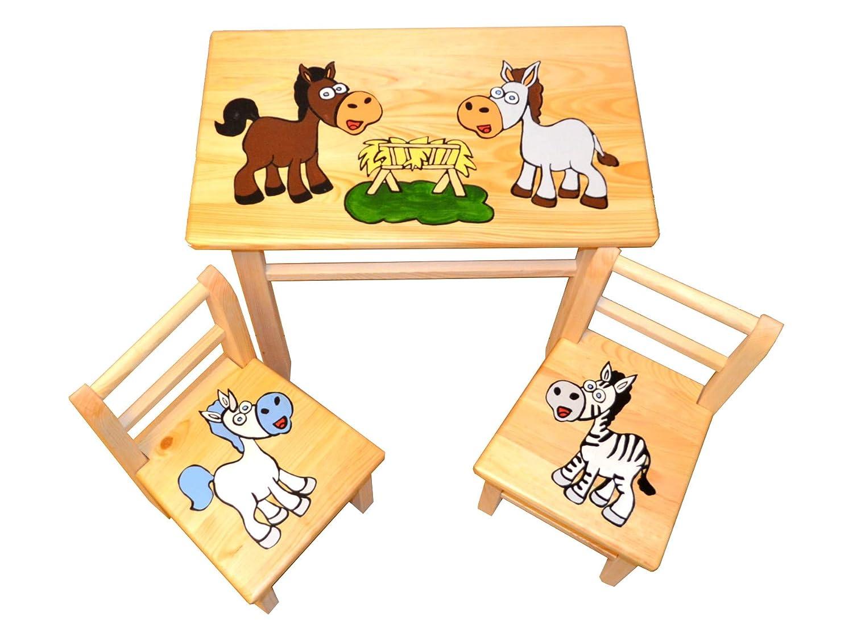 Tolle Sitzgruppe fü r Kinderzimmer Tisch+2 Stü hle Kinder Kieferholz Pferde! (Pferde) FK-Lampem
