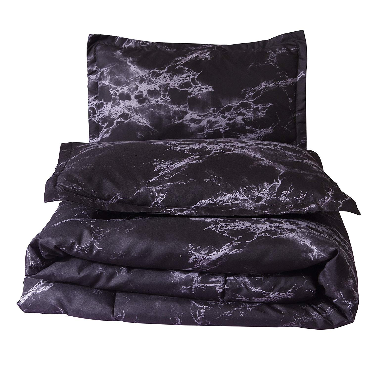 A Nice Night Closure-Printed Marble Ultra Soft Comforter Set Bed-in-a-Bag,Queen (Black-Marble)