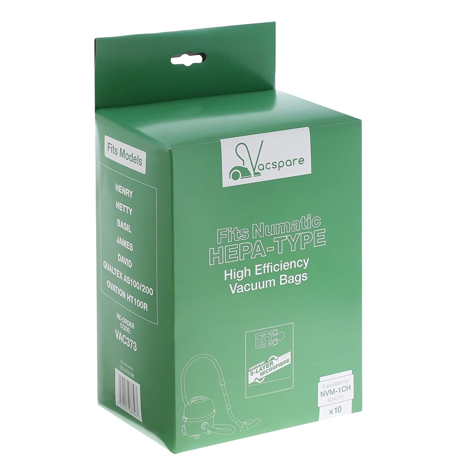 10 Pack of Bags VACSPARE HEPAFLO 5 Layer Microfibre Dust Bags For ...