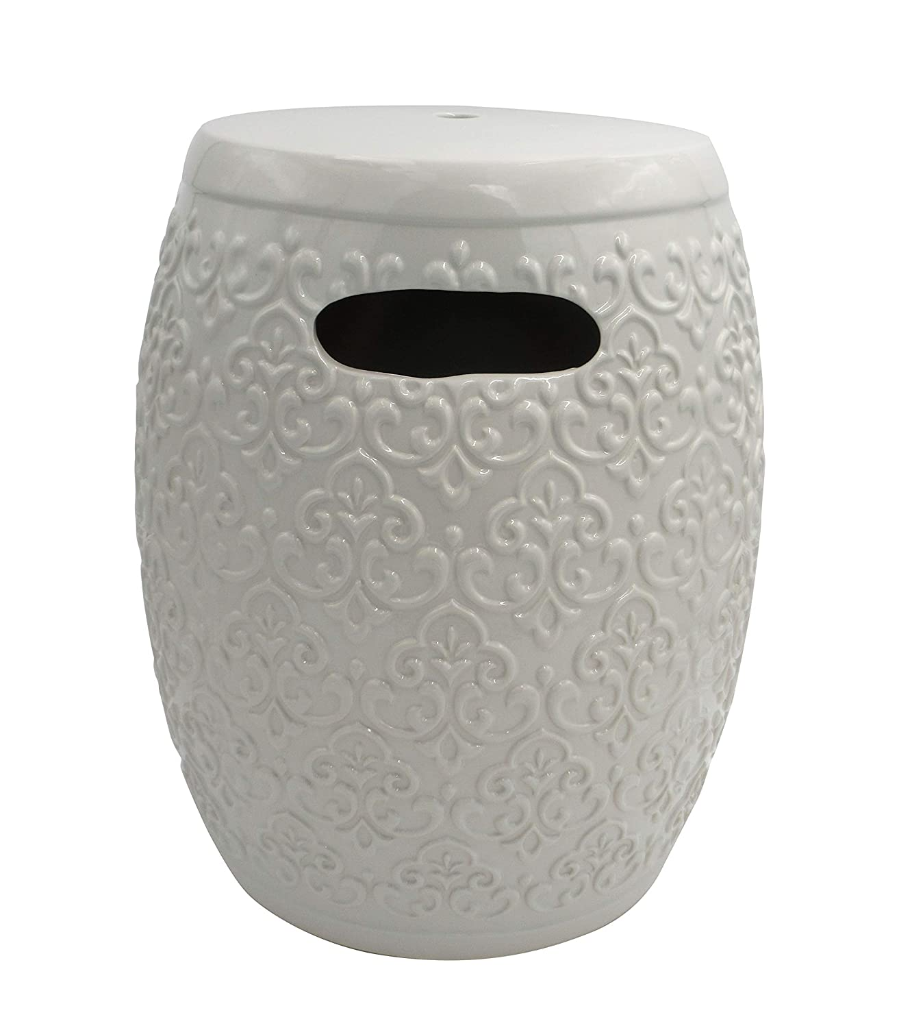 "Ravenna Home Damask-Pattern Ceramic Garden Stool or Side Table, 16""H, Off-White"