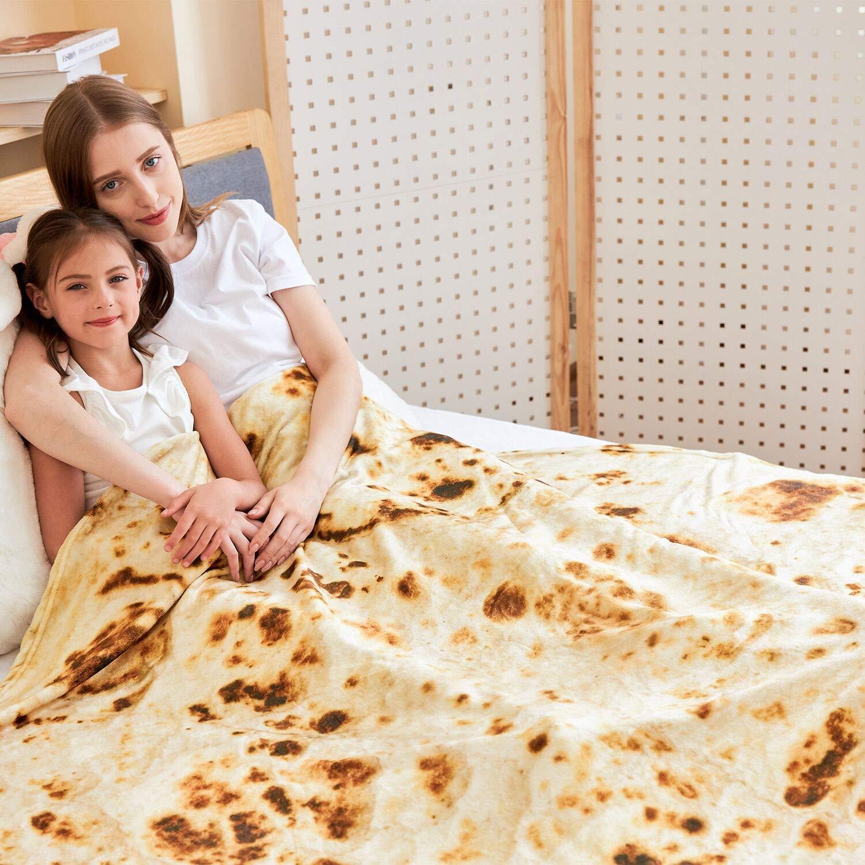 72 Pollici,6 Piedi Gigante Burrito Umano Coperta Rotonda in Tortilla RAINBEAN Coperta di Burrito Tortilla Coperta Comfort in Microfibra e Tortilla