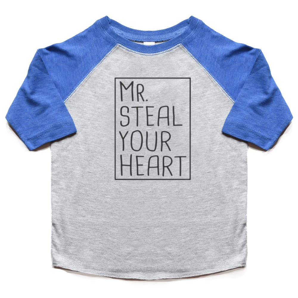 9ee519105 Amazon.com: Mr. Steal Your Heart Toddler Boy Valentine's Day Shirt Raglan  Kids Tees Funny Tshirt: Clothing