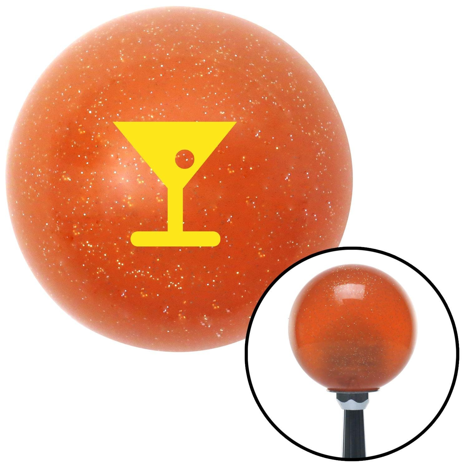 American Shifter 37425 Orange Metal Flake Shift Knob with 16mm x 1.5mm Insert Yellow Martini Glass w//Olive