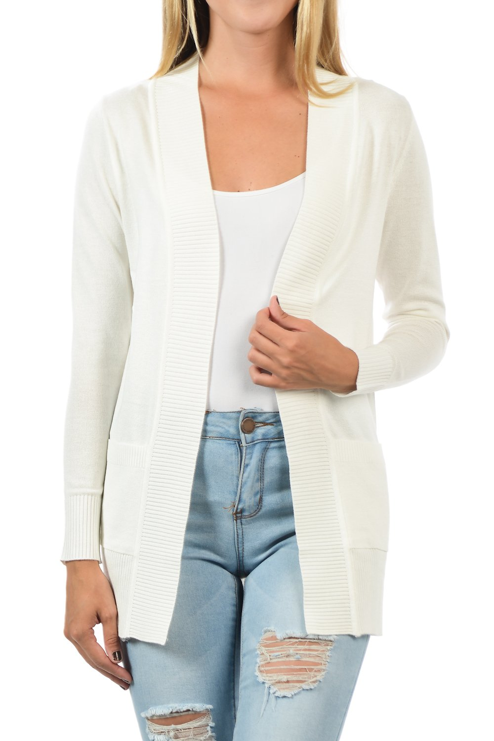 YourStyle Women Open Front Long Sleeve Classic Knit Cardigan (Small, B. White)