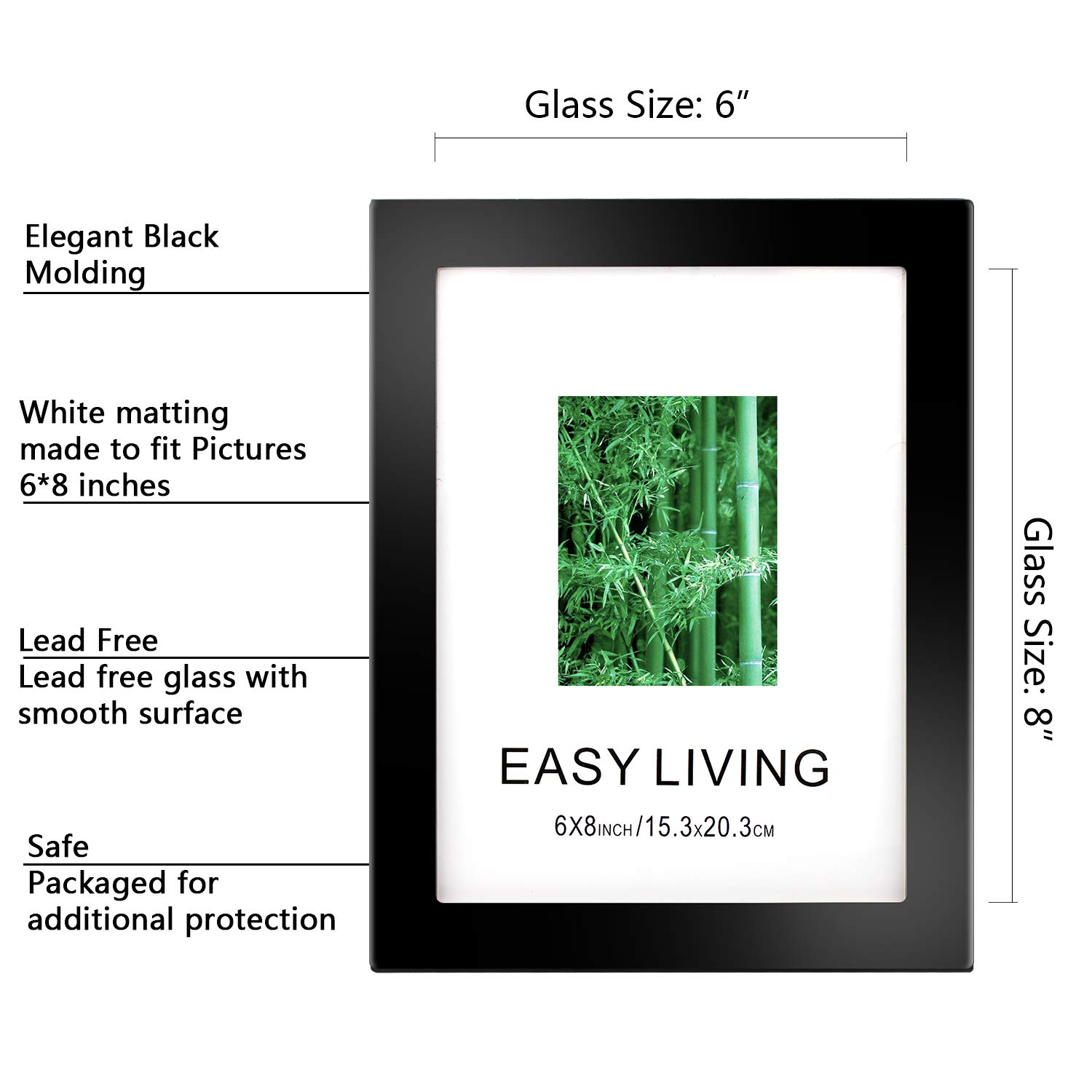 Diswoe 6x8 Black Picture Frame Made of Solid Wood with Mat to Display Pictures Photo Frame for Wall & Tabletop - Wall Mounting Material Included by Diswoe (Image #1)
