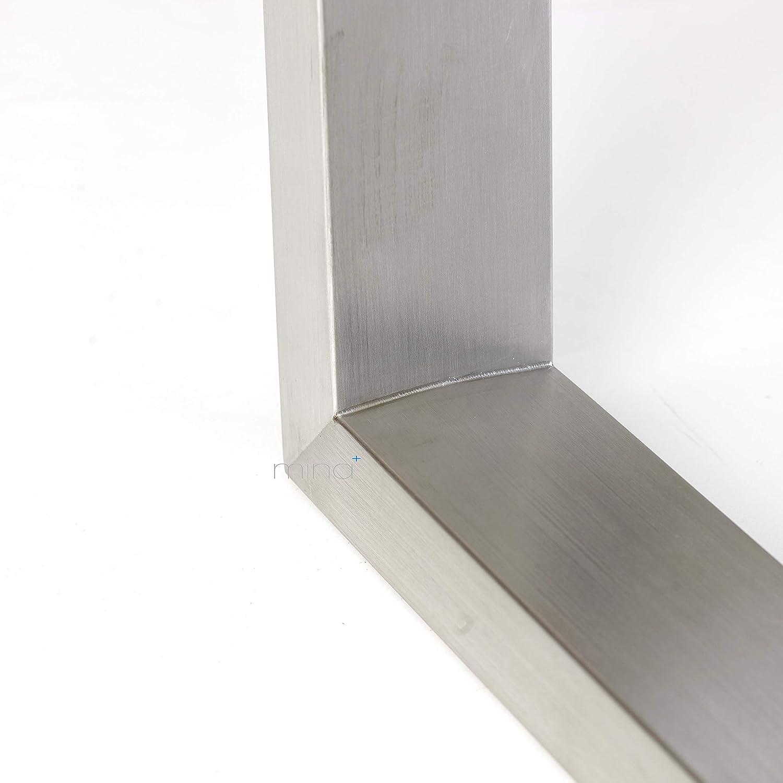 Tischgestell Trapez-R-Form modern I 80 x 40 mm Profil I hochwertiger Edelstahl geb/ürstet I 72 cm hoch I Indoor /& Outdoor I Untergestell f/ür Ess- Gartentisch etc. Schreib- 2