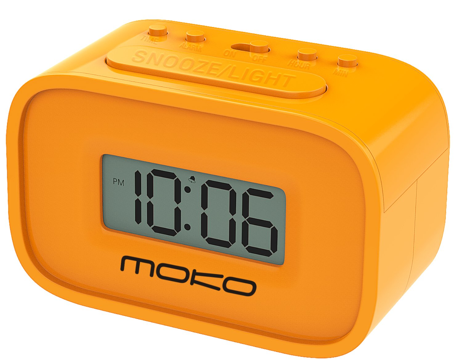 MoKo Digital Alarm Clock, Wake Up Alarm Table Bedside Mini Clock LCD Display Battery Powered Small Clock with Snooze Function/Backlight for Kids Bedroom - Orange
