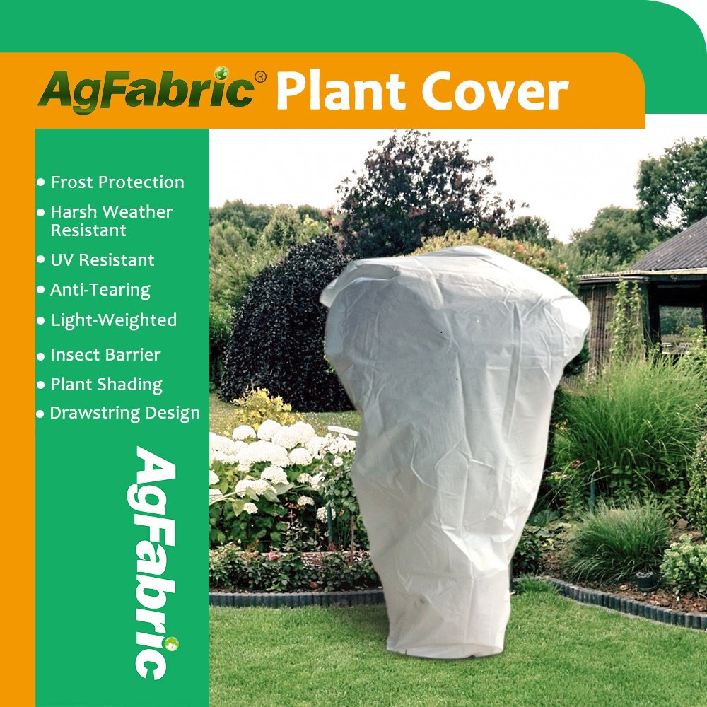 Agfabric Warm Worth Frost Blanket - 0.95 oz Fabric of 84''x 72'' Shrub Jacket, Rectangle Plant Cover for Frost Protection,12pack