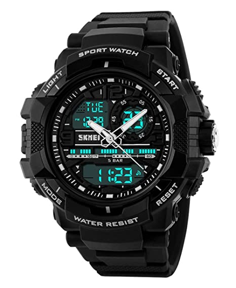 Gosasa estudiantes reloj deportivo Hombres electrónico Digital analógico reloj resistente al agua los relojes de pulsera: Amazon.es: Relojes