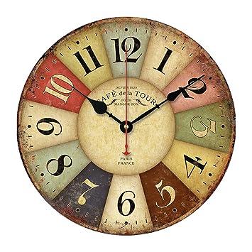 Pixnor 30cm país rústico Vintage estilo pared reloj pared redondo decorativo madera silencioso: Amazon.es: Bricolaje y herramientas