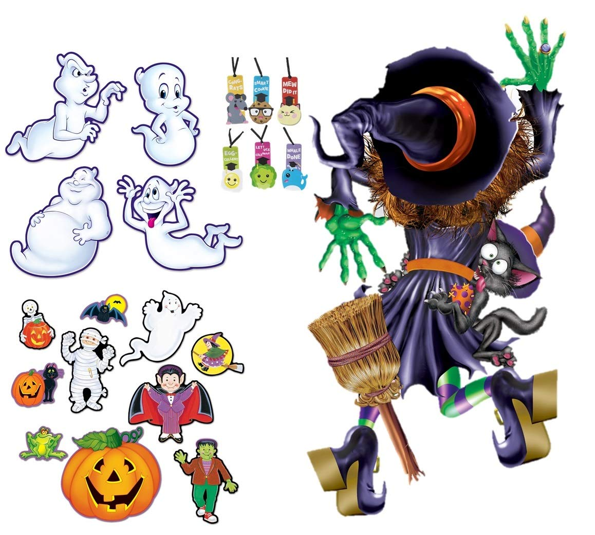 Halloween Ghost Decorations Cutouts and Door Cover 14 Pieces Bulletin Board Classroom Bundle Plus 1 Bookmark by Beistle