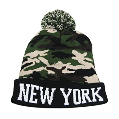d89c19b58e1 Itzu Bobble Beanie Knit Winter Hat NEW YORK in Camouflage Army Camo ...