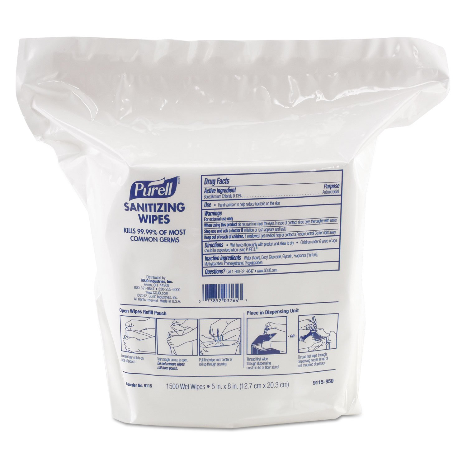 PURELL HAND SANI WIPES 1500CT 2