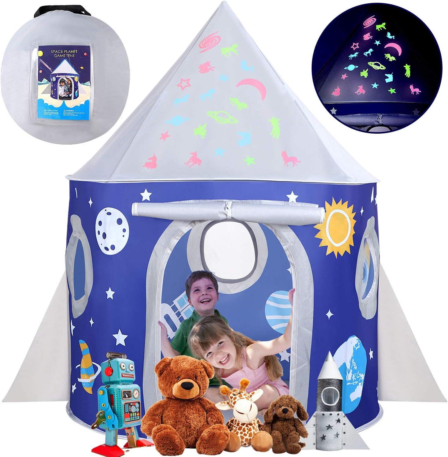 Tienda Infantil Rocket Cabaña Infantil con Estrellas Castillo Casita Infantil para Interiores y Exteriores Pop up portátil Tienda con Bolsa de Transporte para Niñas Niño