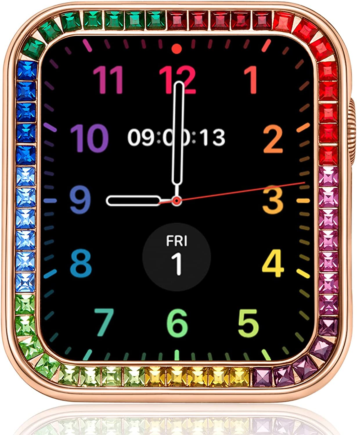 VATI Compatible for Bling Apple Watch Case 42MM Series 3/2, 10-Colored Colorful Square Diamond iWatch Cover Frame with Gift Box for Women Girl Men (Rose Gold)