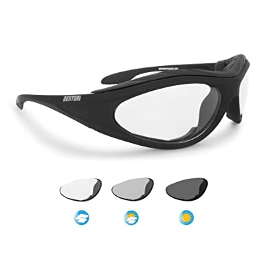 Motorcycle Padded Glasses Photochromic Antifog Anticrash Lens - Windproof insert - by Bertoni Italy F125A1 Motorbike Riding Sunglasses: Automotive [5Bkhe1014754]